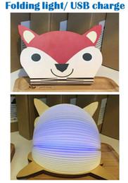 2019 notebook più piccoli Creativo RGB LED 3D pieghevole luce Colorata animale Cartoon Luce notturna bambino camera da letto comodino luce lampada da tavolo Caricatore USB copertura magnete in legno