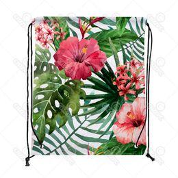 Wholesale Blue Hawaiian Flowers - Watercolor Tropical Hawaiian Flowers Print Drawstring Backpack Shopping Travel Sack Shoes Gift Bag mochilas feminina