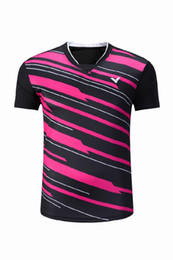 Wholesale game wear - New 2018 victor badminton wear short-sleeved competition t-shirt,men women table tennis shirt quick-drying tennis training game jerseys