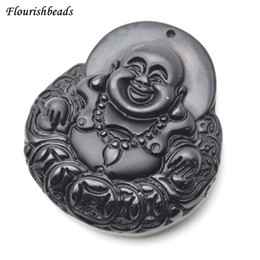 Wholesale Carved Buddha Jewelry - Natural Black Obsidian Carved Laughing Money Buddha Stone Pendant Lucky Amulet Jewelry