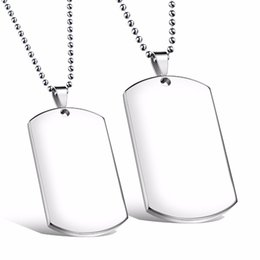 custom stainless steel dog tags Coupons - Custom Engarved High Polished Stainless Steel Silver Blank Dog Tag Pendants No Chain