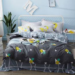 Wholesale Girls Pink Duvet - Boys kids girls bed linen set pineapple fruit cute bedding set twin queen size Duvet Cover Fit sheet bedclothes pillowcases