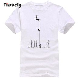 a807b9e4d4ac Tissbely T Shirt for Men Astronaut Climb Moon Imagination Graphic Man T-Shirts  Summer Short Sleeve Round Neck Funny Tops discount moon shirt