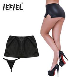 Плинтусная строка онлайн-Женская одежда Юбки iEFiEL Марка Черные сексуальные женские ПВХ Мокрые взгляды Искусственная латексная микро мини-юбка с G-String Party Club Stripper Fetish