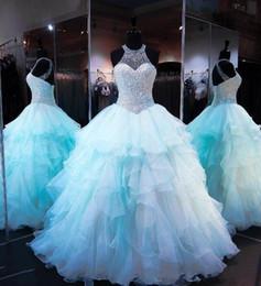 perline di ghiaccio blu Sconti 2018 Ice Blue Ruffles Organza Ball Gown Quinceanera Abiti di lusso Perline Perle Corpetto Pizzo Prom Dresses abiti 16 per le ragazze
