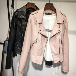 8f57820bc141a Black Pink S M L XL Vintage Women Punk Biker Motorcycle Lapel Soft Leather  Zipper Slim Jacket Coat Outerwear