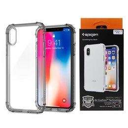 Wholesale Plastic Bag Retail - Spigen High Transparent Clear Phone Case Four Corners With Air Bag For iPhone X, iPhone 8, 7, 6 Plus, with Retail Package