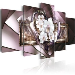 Wholesale Flowers Contemporary - Mirror Crystal Canvas Art Contemporary Wall Painting Orchid Flower Decor Print Picture 5 Panel Modern White Heart Artwork Framed and Stretch