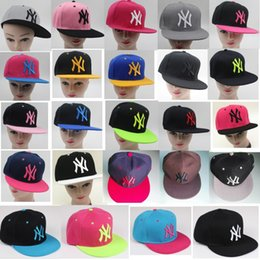 Wholesale Ny Snapbacks - NY pink baseball caps flat Snapbacks adjusted Hip hop dance lovers hats for men and women 24 colors