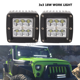Wholesale led backup truck lights - free shipping 2pcs 18W led work light 3x3 cube pod lamp for 4x4 off road Wrangler 4WD truck motorcycle grill backup driving light