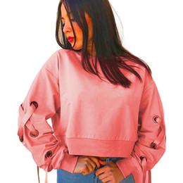 oeillets d'habillement Promotion Sweat à capuche lâche Mode Hoodie Vêtements chauds Femmes Oeillet à lacets Manches Crop Sweat Automne O-Neck Pulls Tops