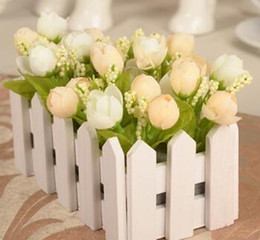 Wholesale Flowers Fence - 1 set 16cm Wooden fence vase + flowers rose and Daisy artificial flower set silk flowers home decoration Birthday Gift