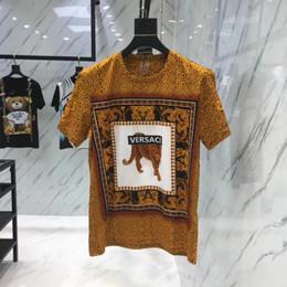 modelli camicia casual Sconti T-shirt da uomo in cotone mercerizzato con stampa leopardata a manica corta, girocollo a maniche corte, modelli casual da uomo