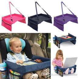 Wholesale Cars Tray Tables - Hot Selling 5 Colors Baby Car Safety Belt Travel Play Tray Waterproof Foldable Table Baby Car Seat Cover Pushchair Snack With Opp Package