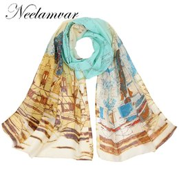 Wholesale Paint Scarf - Neelamvar new 2018 fashion painting Style print long scarf women silk chiffon shawl thin shawls printing polyester scarves