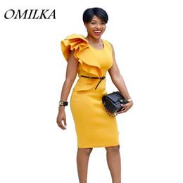 Vestido lápiz amarillo sin mangas online-OMILKA Ruffle OL Dress 2018 Summer Women sin mangas O Neck Yellow Club Party Bodycon lápiz trabajo Midi Vestidos De Festa