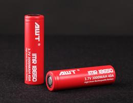 Wholesale Amp Batteries - 100% authentic AWT 18650 3000mah 40 Amp 3.7V rechargeble battery AWT IMR High Drain for E cigarette