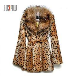 be106fae276 plus size leopard print jacket Promo Codes - Women Leopard Print Faux Fur  Coat Raccoon Fur