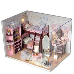 Wholesale wooden furniture for children - Handmade Doll house furniture miniatura diy doll houses miniature dollhouse wooden toys for children birthday gift TW5