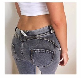 Wholesale Tight Sexy Jeans Woman - Women Sexy Hip Push Up Slim Tight Jeans For Female Fashion Yoga Fitness Sports Skinny Denim Joggings Leggings Trousers