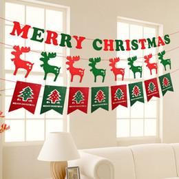 Wholesale Flag Parts - Merry Christmas Xmas Gift Hang Window Tree Part Decoration Pull Flag Red and Green Party Pub Banner Decorate