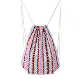 desenho menina moda Desconto Mulheres cordão mochila moda vintage cinch bag primavera verão meninas mochilas lona étnica desenhar corda mochila JY-20