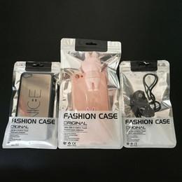 2019 estojo de saco de selagem de plástico Claro / prata selo zipper saco plástico pacote de embalagem de varejo sacos para o telefone celular pacote caso com furo QW8672 estojo de saco de selagem de plástico barato