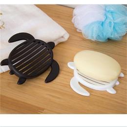 Caja de tortuga online-Negro Jabón blanco Dishes Box Support Originalidad Tortoise Shower Holder Lavado de cara de cara Lovely Leachate Rack Accesorios de baño 0 98yy ff