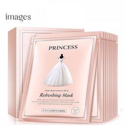 2019 платья с изображением Изображения 10шт Увлажняющий Увлажняющий маска для лица принцессы Свадебное платье Маска Масло-контроль глубины пополнения воды Уход за лицом дешево платья с изображением