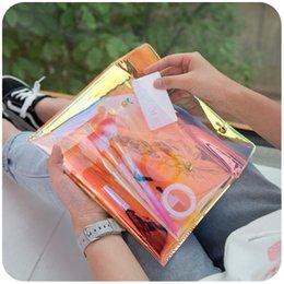 2019 matita stazionaria New Creative Big Pencil Bag Radium Color PVC Trasparente borsa Carino stazionario Pencil Pouch per le ragazze matita stazionaria economici