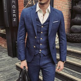 Wholesale Good Dress Pants - Wedding Formal Wear Suits & Blazer Men Good Quality Blue Plaid Suits Fashion Male Formal Dress Blazer Jackets+Pants+Vest