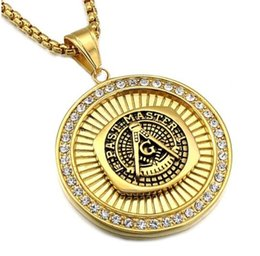 Wholesale Gold Jewellery For Men - Hip Hop Rock Gold-color Titanium Stainless Steel Bling Iced Out Masonic Mason Freemasonry Pendant Necklaces For Men Jewellery
