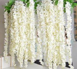 Wholesale White Wall 14 - Artificial Hydrangea Flower Vine 14 colors DIY Simulation Wedding Arch Door Home Wall Hanging Wisteria For Wedding Garden Decor