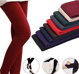 Wholesale Super Slimming Tights - Fleece Leggings Warm Winter Faux Velvet lined Legging Knitted Thick Slim Leggings Tights Super Elastic pantyhose 3 style 100Pcs