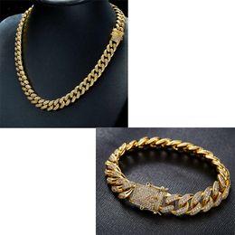 b753892f212a1 Hommes Cuivre Miami Cuban Chaîne Collier Bracelet Ensemble 18K Plaqué Or  AAA Cubique Zircone Hip Hop Bijoux 12mm Largeur 18 polegada 20 pouces 24  pouces 28 ...