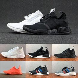 Wholesale Plastic Black - 2018 High quality New NMD Runner R1 Primeknit PK Tri-Color mastermind japan black white blue Men Women Running Shoes sports Shoes Sneakers