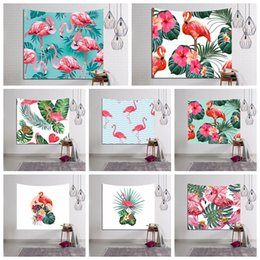 Wholesale Family Living Rooms - Flamingo and Exotic Plants Tapestry Tropical Palm Leaves Home Decor Tapestries Home Decor-Bedroom Living Room Wall Hanging DDA415