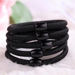 Wholesale Hair Beads For Girls - 2018 Hot Sale Women's Headwear,Simple Hair Rope, Practical rubber band,Black Beads Splicing, Elastic Hair Bands For Girls A156