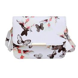 Sacos de sacos de flores on-line-Yogodlns Mulheres De Luxo Sacos De Design Pequeno Satchel Mulheres saco Flor Borboleta Impresso PU Bolsa De Ombro De Couro Retro Saco Crossbody