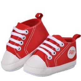 Baby Boy Shoes Neonati Toddlers Canvas Cotton Crib Shoes Lace Up Scarpe casual Prewalker Primi camminatori da scarpe in pelle vernice rossa baby girl fornitori