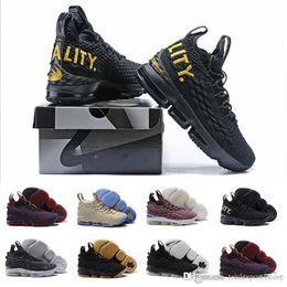 Argentina 2018 nuevos james15 de alta calidad Hombres lebron 15 zapatos Zapatos deportivos de goma negra Zapatos de baloncesto masculinos Igualdad cenizas Zapatillas de deporte fantasma James Suministro
