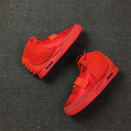 Wholesale Rubber Packaging - Air 2 SP Red October Baskeball Shoes Kanye West With Original Packages Dust Bag And Box Men Sneakers Kanye West 2 All Red Outdoor