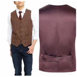 Wholesale Fit Japan - Cheap Sale Groom Formal Tweed Vest Wool Groomsmen Groom Vests Five Buttons Men's Suit Vests Slim Fit Men's Casual Vest