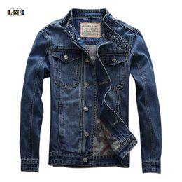 2dc3910e4fb Idopy Spring Summer New Men`s Jean Jacket Motorcycle Stand Collar Motorbike  Slim Fit Distressed Biker Jean Denim Jacket For Male distressed denim  jacket men ...