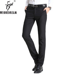 new men formal pant style Promo Codes - Man Suit Pants 2017 New Summer Style Mens Slim Fit Skinny Suit Pants Male Formal Dress Black Wedding Trousers for Men