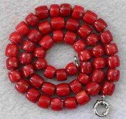 colliers naturels corail Promotion Pierre naturelle corail rouge collier de perles irrégulières 8-10mm pierre 17