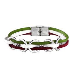 2019 grossista braceletes canadá Vendas quentes Itália Canadá Pulseira De Bandeira De Couro real nacional para Homens Mulheres Envoltório De Couro Pulseiras Pulseiras atacado grossista braceletes canadá barato