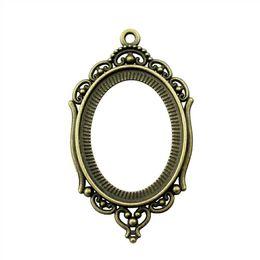 Cavidade de vidro oval on-line-8 Peças Cabochon Cameo Base Bandeja Bezel Acessórios Acessórios Vazio Oco Simples Único Lado Tamanho Interno 30x40mm Cabochão de vidro Oval