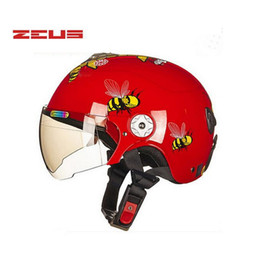 Wholesale Girl Motorcycle Helmets - summer red Boys girls children Kick scooter motorcycle ZEUS helmet with bee bear ,MOTO electric bicycle capacete for child kids