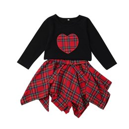 girls plaid skirt outfits Promo Codes - xmas ins Toddler Girls Black Long Sleeve Heart Embroidery Shirt Top + girls grid Plaid Skirt 2PCS Baby Clothes Boutique Outfits 1-5years